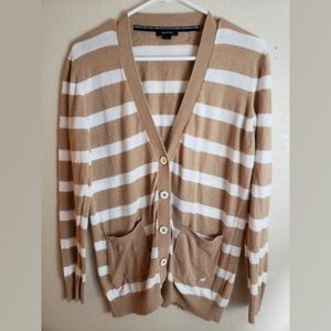 Nautica Large Stripe Button Up Cardigan Sweater